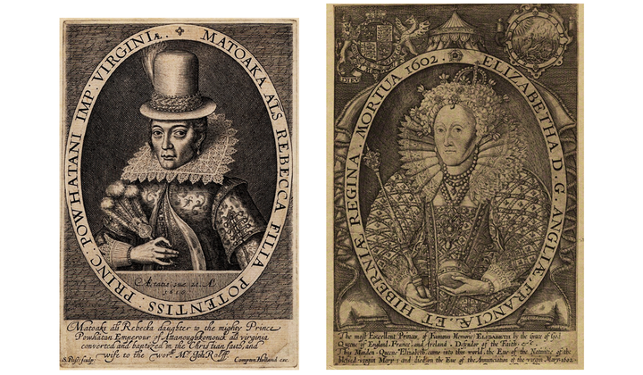 The famous engraving of Pocahontas made by Simon van de Passe (1595–1647) mirrors the Renold Elstrack (1570–1625 or after) engraving of Queen Elizabeth—and the 31 other engravings of British sovereigns published in 1618 in