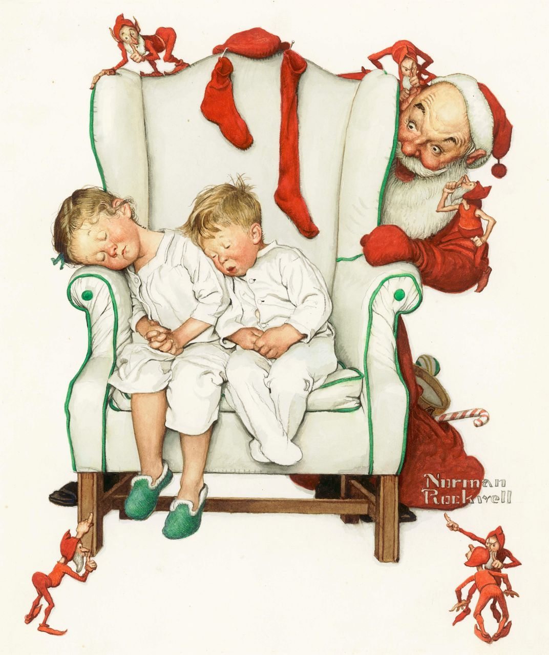 The history of the christmas card history smithsonian between 1948 and 1957 norman rockwell created 32 christmas card designs including santa looking at two sleeping children 1952 for hallmark reheart Images