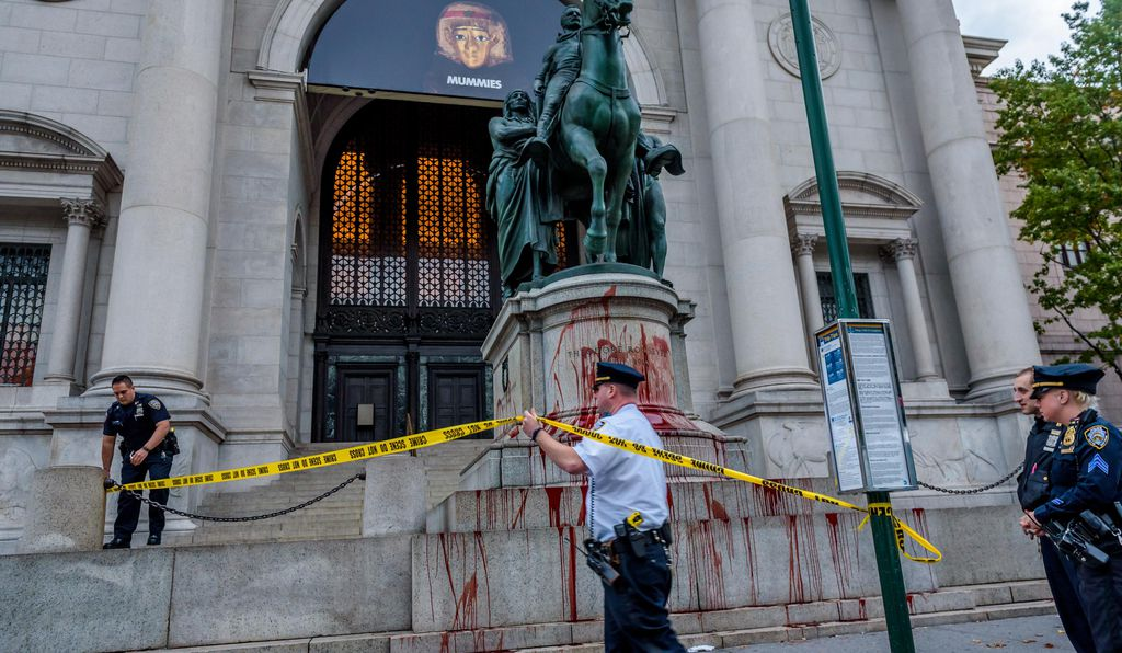In 2017, activists splattered the Roosevelt statue with red paint to protest its legacy of