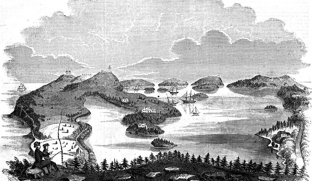 Harbor of St. George, Bermuda from Sugar-Loaf Hill, in the mid-19th century.