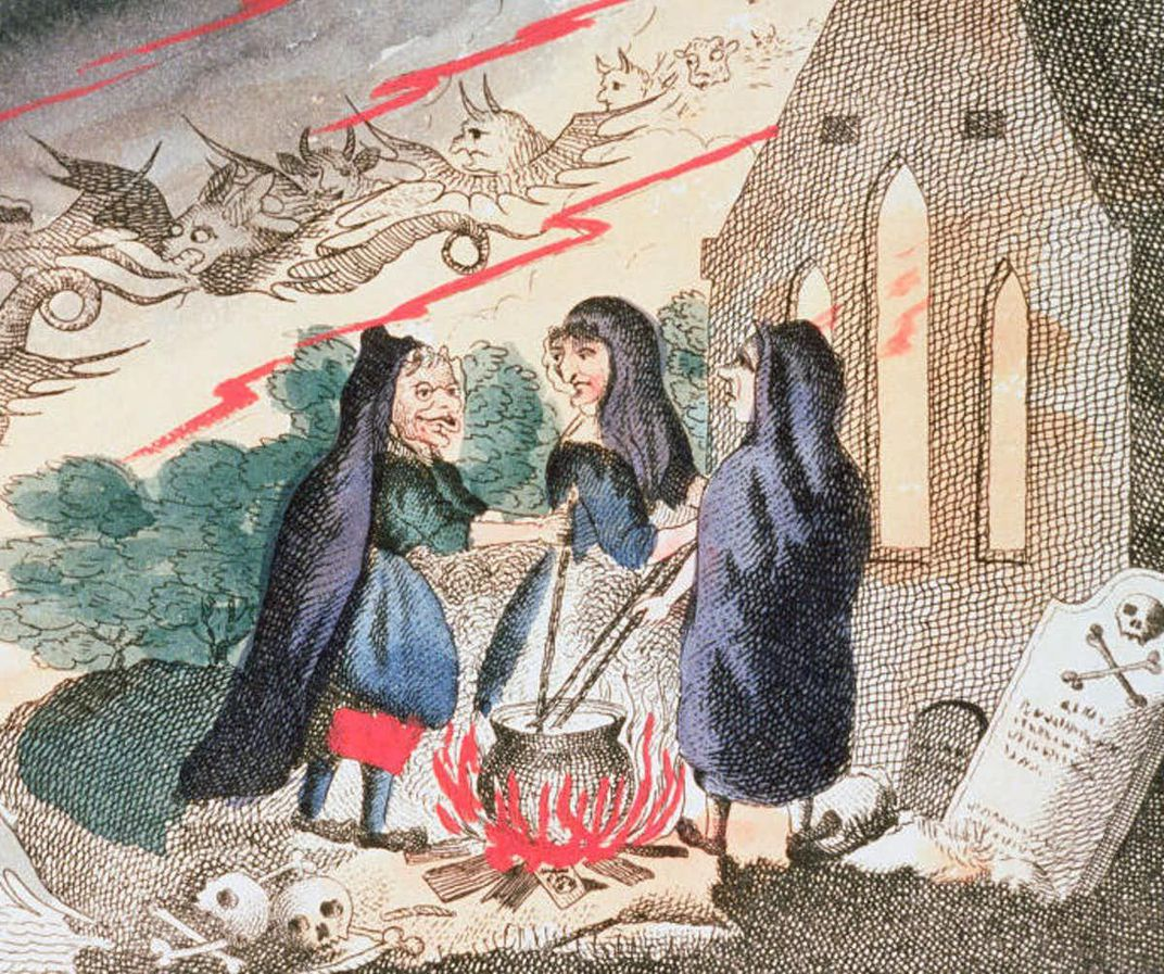 Witches in a Graveyard with Cauldron