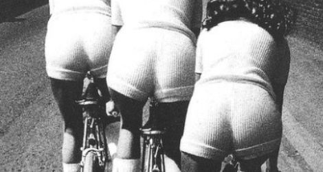 Biking while wearing stretchy knit hot pants, 1972