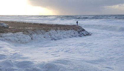 Sea Foam Delights Visitors of Lebanese Beach