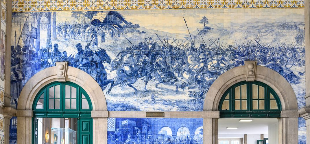 Tile work at the São Bento train station in Porto