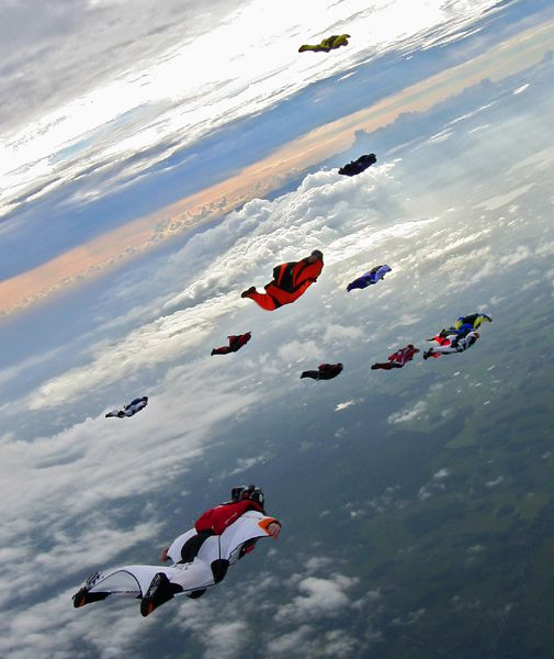 Airborne with a group of wingsuit flyers at last October's Z-Flock 3.5 event.