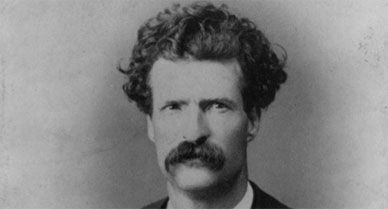 Samuel Langhorne Clemens, aka Mark Twain, head-and-shoulders portrait
