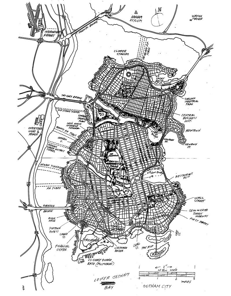The final, hand-drawn map of Gotham City by Eliot R. Brown