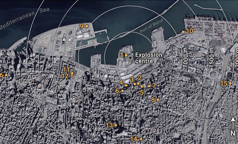 A map of Beirut before the explosion shows the locations of videos analyzed in the new study