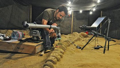 Vince Rossi wields a laser to document a whale fossil in Chile.