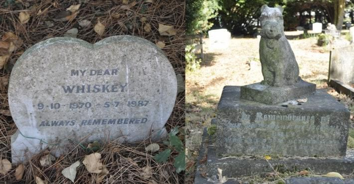 A split photo: On the left is a heart-shaped tombstone engraved with