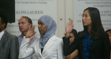 Two of the newest U.S. citizens who were naturalized on Sept. 20, 2010.