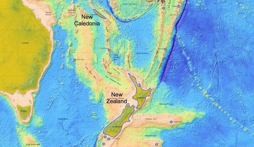 New Zealand and the seafloor. The Hikurangi Trench is just south of the dark blue trench (the Kermadec Trench) in the top-middle of this image.
