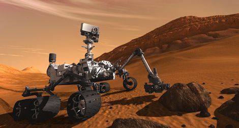 A digital rendering of Curiosity, set to land on Mars early Monday morning.