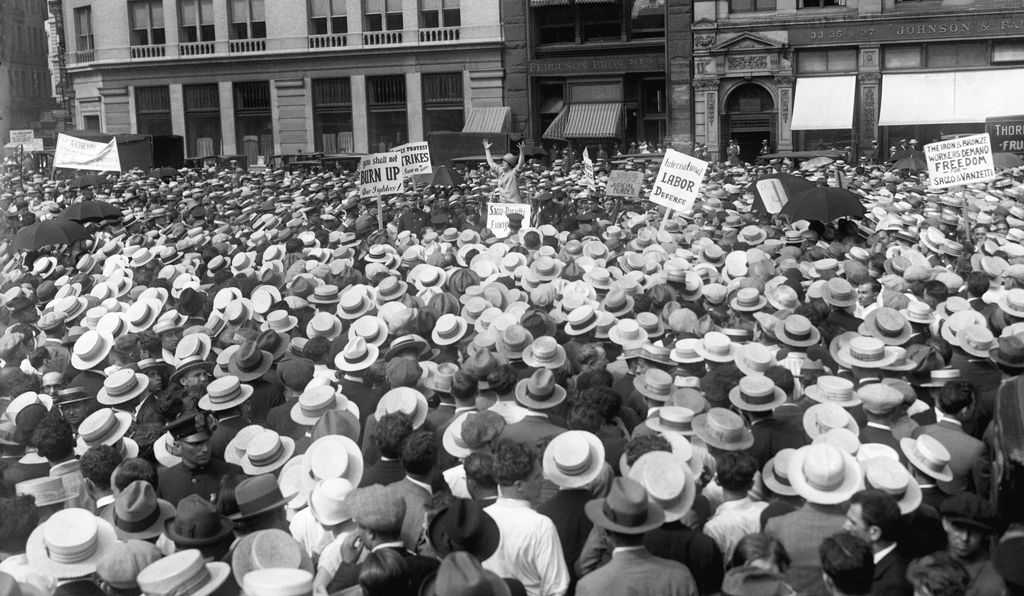 Protest meeting in New York CIty's Union Square against the execution of Sacco and Vanzetti.