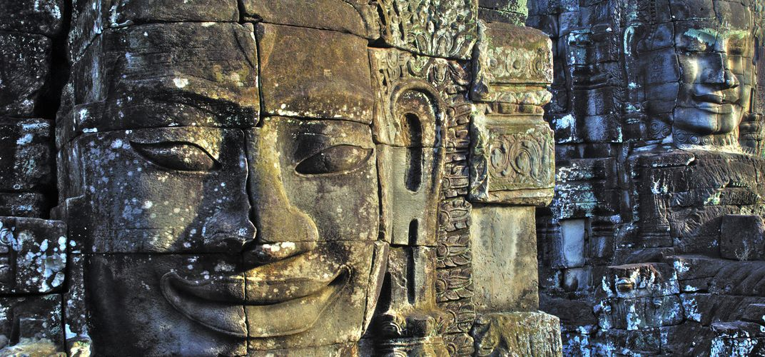 Close up of sculpture at Bayon, Angkor Thom