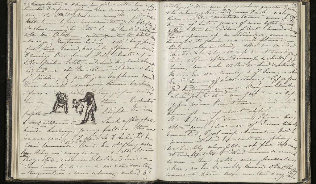 In these pages, Victoria describes how Prince Albert played with his young children, putting a napkin around their waist and swinging them backwards and forwards between his legs
