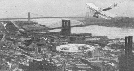 A circular landing track imagined for New York in 1919