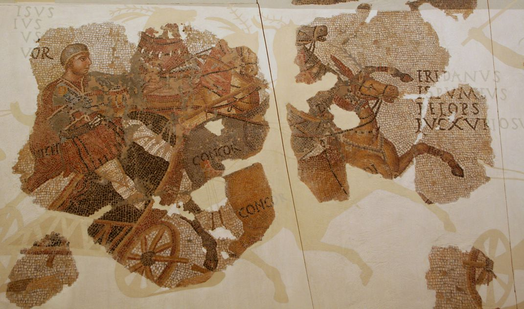 Mosaic of chariot racing in ancient Rome
