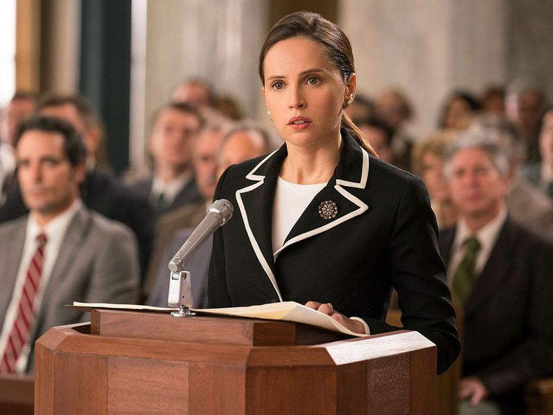 Felicity Jones, playing future Supreme Court Justice Ruth Bader Ginsburg,  makes the oral argument for Moritz in a scene from On the Basis of Sex.