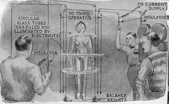 The robot of Metropolis (a mannequin in this shot) is filmed with electricity encircling her.