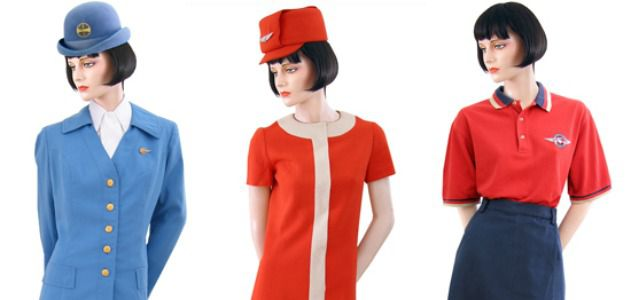 Uniforms for Pan Am (1969-1971), United (1968-1970), and Southwest (1995-2004)