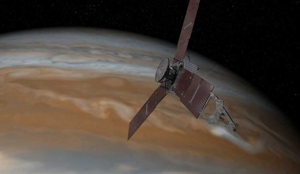 Artist's rendering of Juno making a close pass of Jupiter.