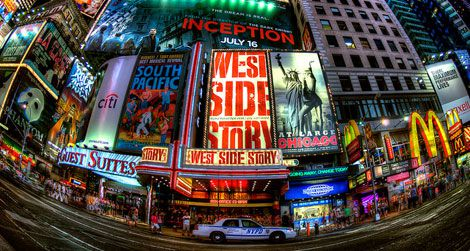 In the midst of Broadway's musicals, there's a little food to be found. Times Square Fisheye.