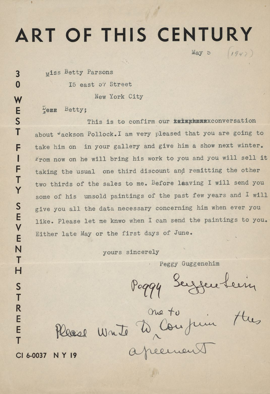 Letter from Peggy Guggenheim to Betty Parsons