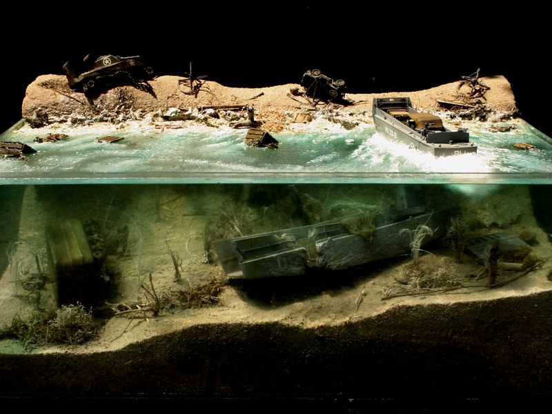 WWII D-Day diorama depicting invasion damage on Normandy