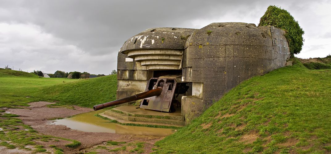 German gun emplacement on Omaha Beach