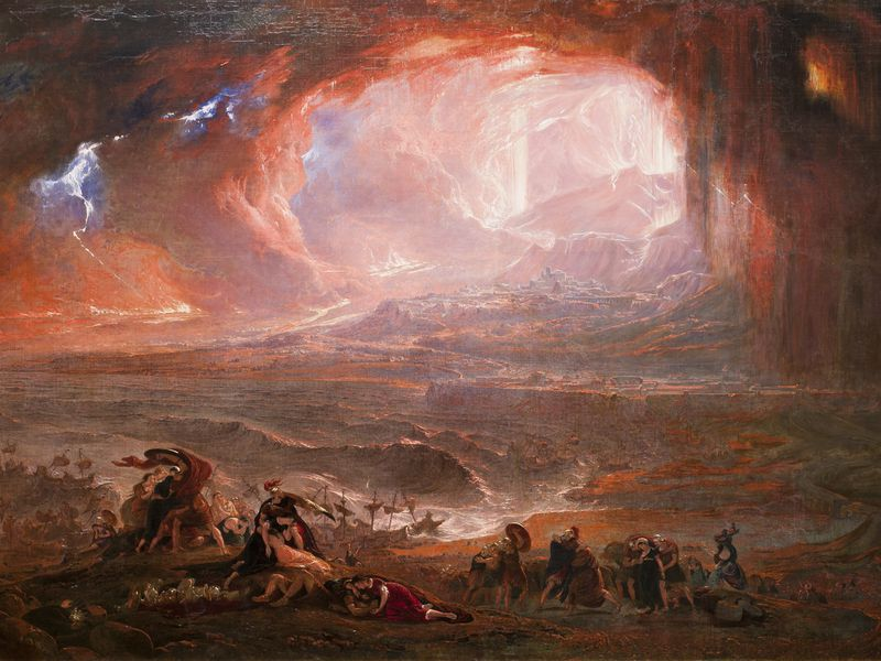 A 19th-century painting of the eruption of Mount Vesuvius