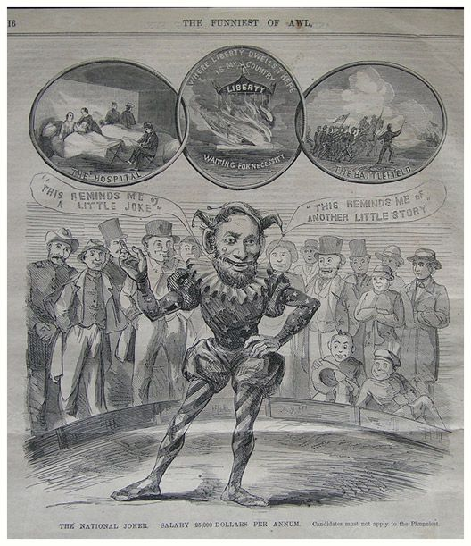 "A caricature of Lincoln as the ""National Joker."""