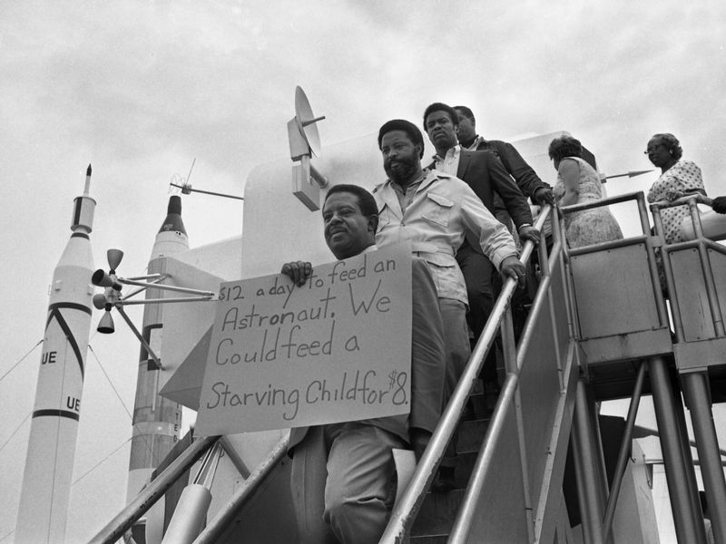 Ralph Abernathy protests the Apollo 11 mission
