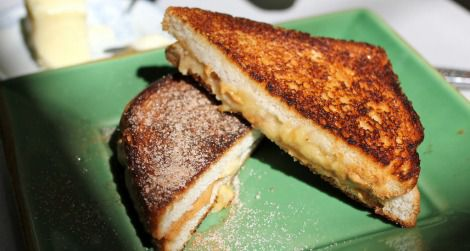 A fried peanut butter and banana sandwich