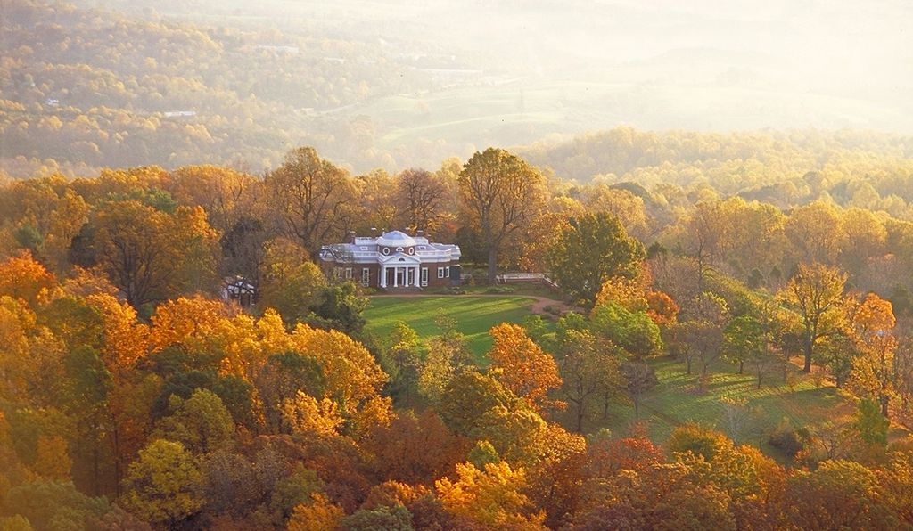 An aerial view of Monticello in the fall.