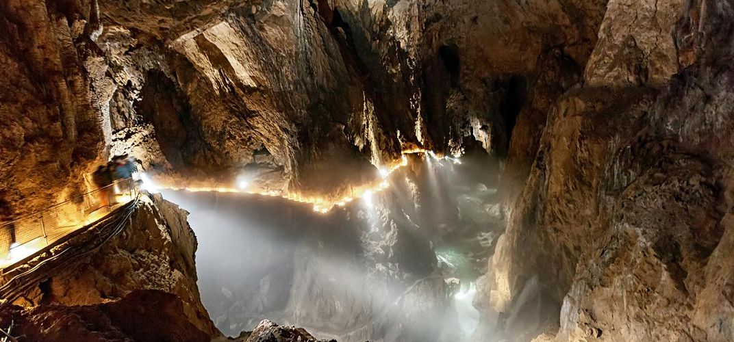 Interior of the Skocjan Caves in Slovenia