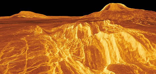 Most pictures of the Venus surface are synthetic, like this view of a volcanic region called Eistla, created from Magellan orbital radar data. The SAGE lander would take actual photos from ground level.