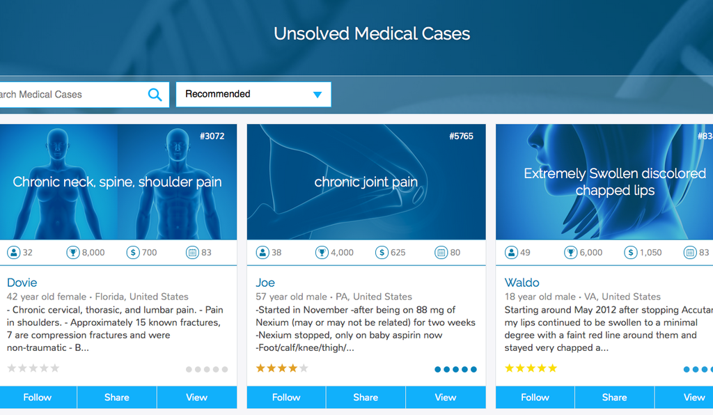 Users are able to post their mystery cases to the site, with descriptions of their symptoms and lists of medications they have been prescribed.