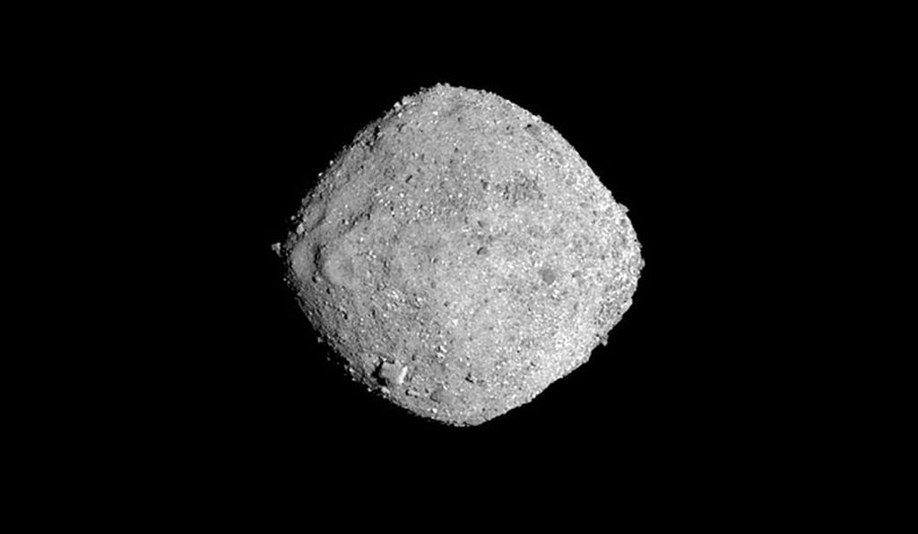 Image of the asteroid Bennu taken by the OSIRIS-REx spacecraft on November 16, 2018, from a distance of 85 miles (136 km).