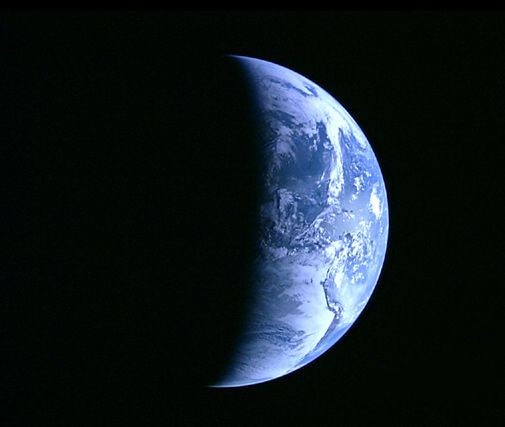 Japan's Kaguya satellite snaps a high-definition photo of Earth on its way to the moon.
