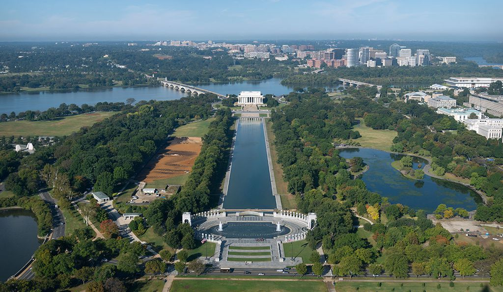 The National Portrait Gallery commissioned artist Jorge Rodríguez-Gerada to create a giant earth portrait on the National Mall.