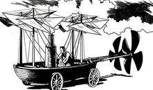From contemporary news articles and earlier hints from Sir George Cayley, a cartoonist created this depiction of what the 1834 mystery craft could look like.