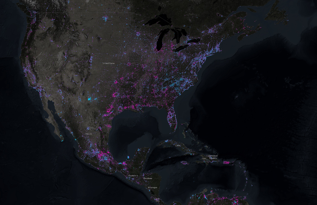 Stunning Map Shows Changes In Light At Night Around The World - Us-map-night