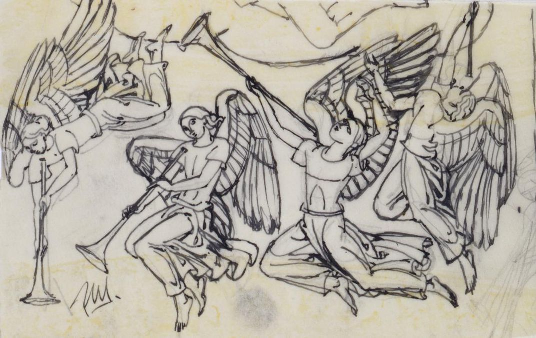 Pen sketch of four angels