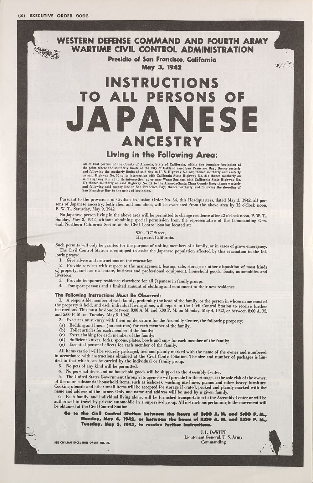 Facsimile of Executive Order 9066
