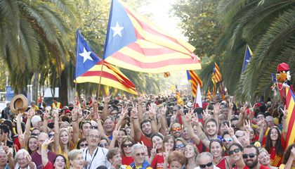"""The Fight for Catalonian Independence Took the Form of a Giant """"V"""" in the Streets of Barcelona"""