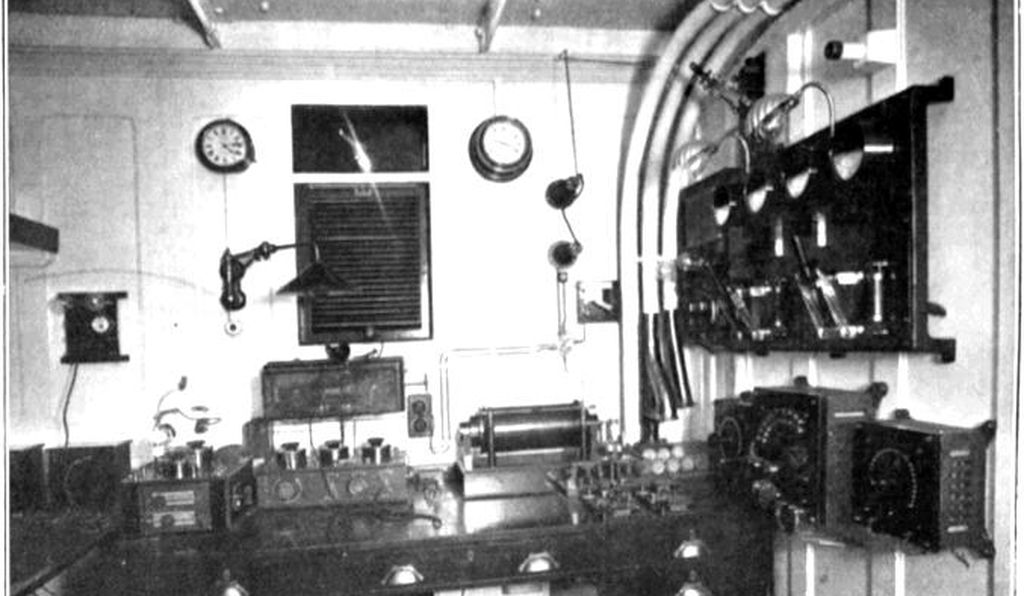 A Marconi telegraph operating room created for an ocean liner in 1913