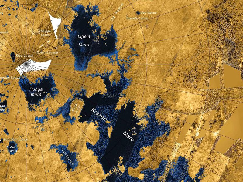 A map of Saturn's moon, Titan, shows the lakes of its northern hemisphere