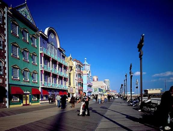 The Atlantic City Boardwalk is as colorful as the taffy it's known for.