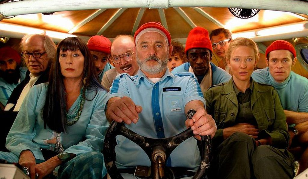 Steve Zissou (Bill Murray, center) and his drama-ridden crew take a blasé plunge into the unknown.